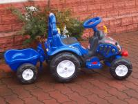 Elektrický traktůrek s vozíčkem, modrý