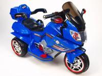 Cestovní elektrická motorka, 2 motory - pohon obou zadní kol, modrá