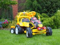 Elektrický traktůrek s vozíčkem, žlutý